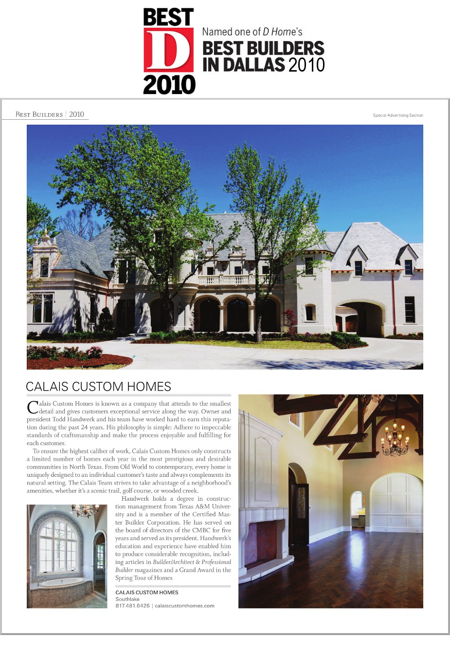 2010 DHome Best Builder Award Article