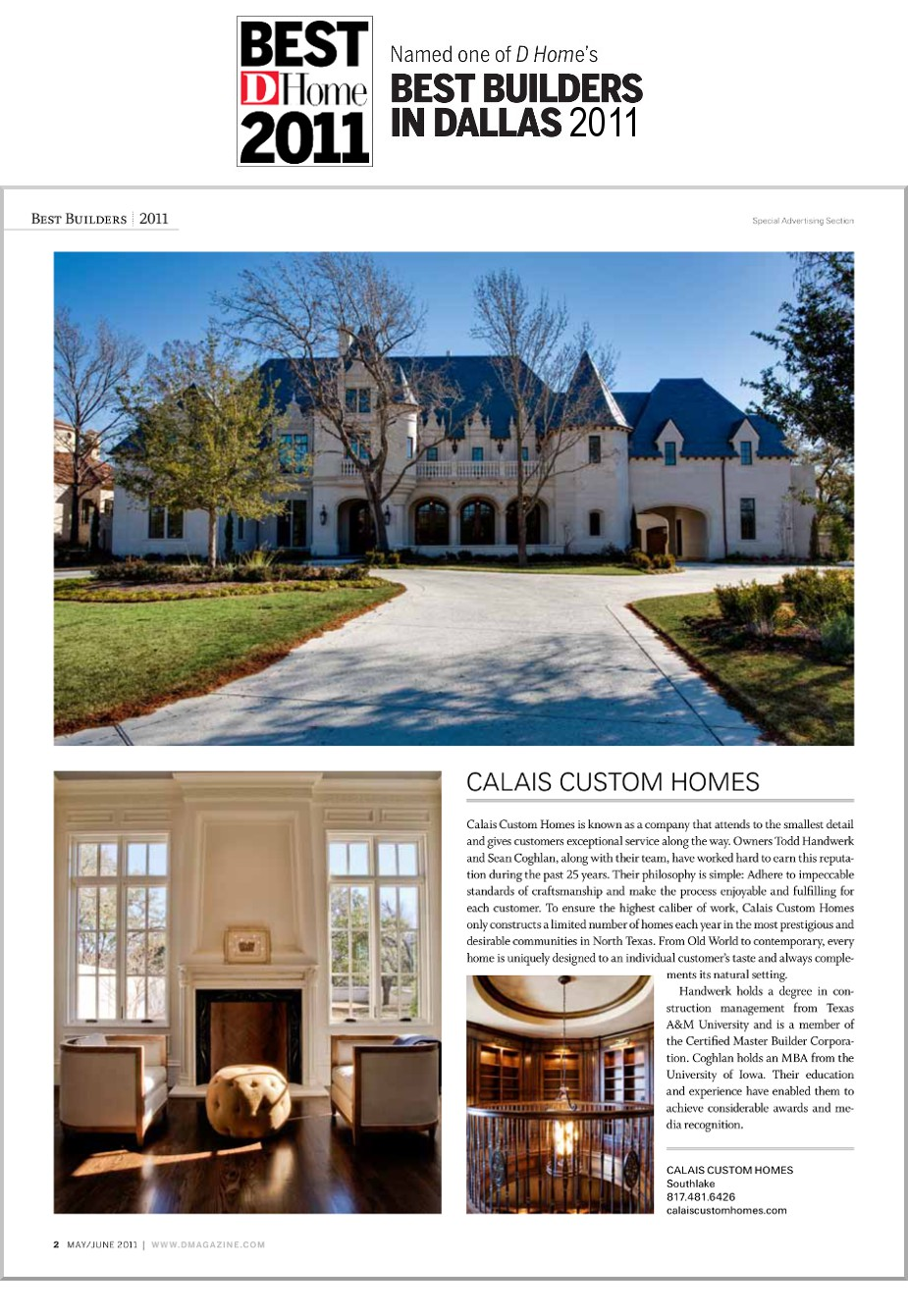 2011 DHome Best Builder Award Article