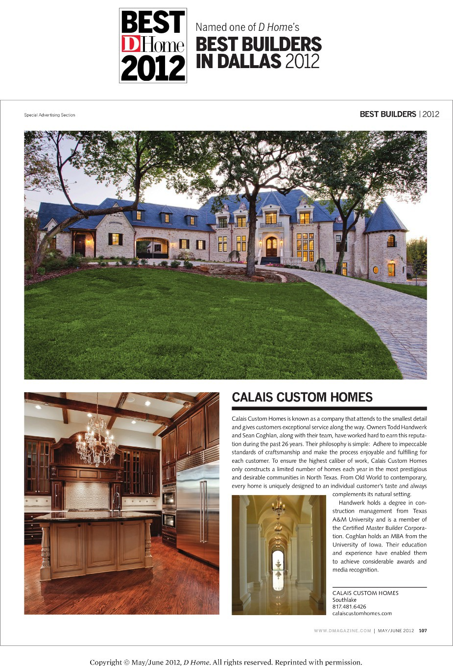2012 DHome Best Builder Award Article