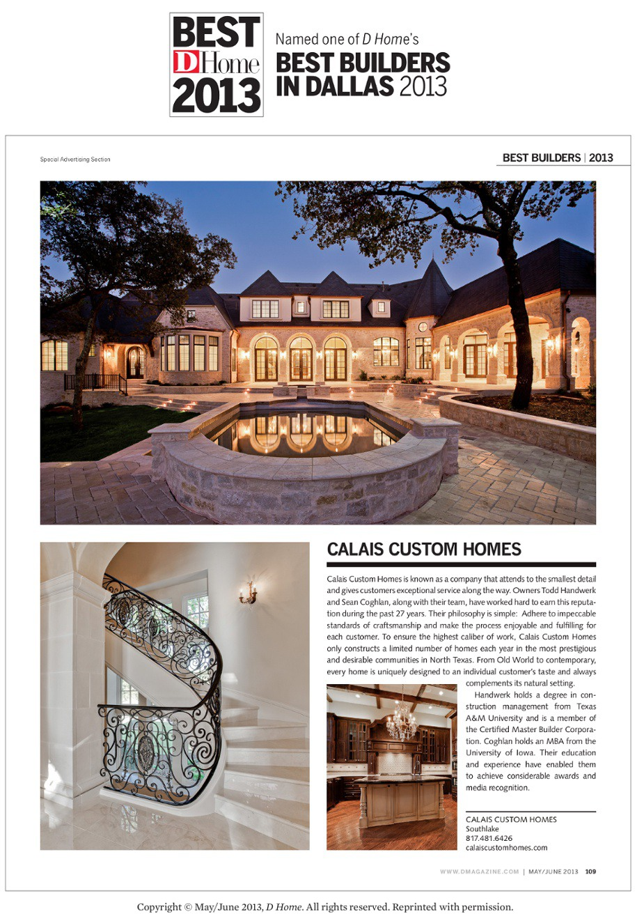 2013 DHome Best Builder Award Article